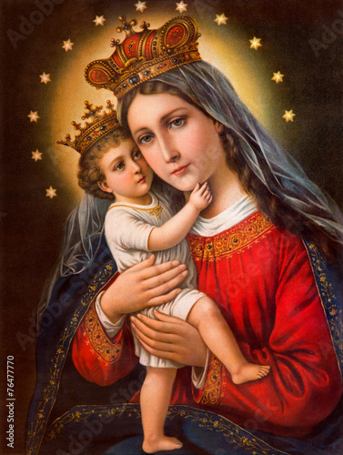 Plakat Typical catholic image of Madonna with the child