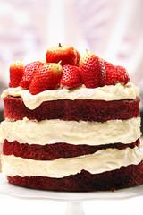 Red velvet cake with strawberries