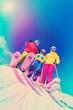 Ski - family enjoying winter vacation, filtered