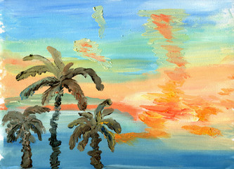 Palm trees against a bright sunset sky. Sketch of oil.