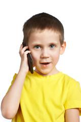Little boy talking on phone