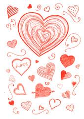 Hearts pencil art background