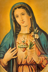 The Heart of Virgin Mary with the lily