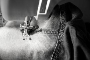 Darn jeans on the machine.