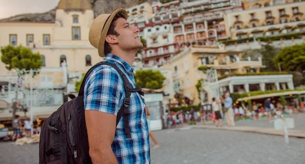 Young Man Tourist Hat Backpack Beach Mediterranean Sea Happiness