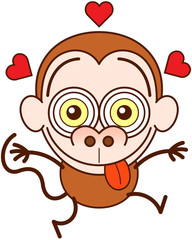 Crazy monkey jumping out of joy and feeling in love