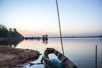 Boat, old, river, calm, blue, water, morning.