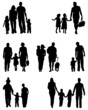 Silhouettes of families in walk, vector