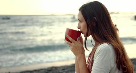 Beautiful Young Woman Drinking Coffee Beach Sea Shore View Boats