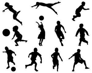 Silhouettes of children playing, vector