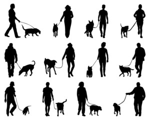 Silhouettes of people and dogs, vector