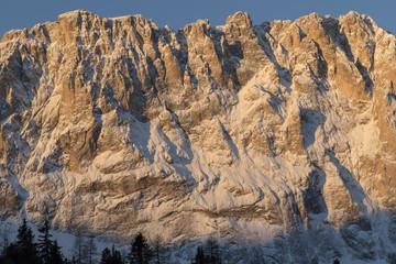 Sassolungo from Gardena mountain pass in the Dolomites