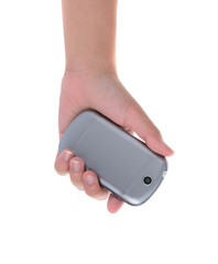 Hand holding and operating a smart phone isolated on white