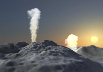 Vulcano eruzione fumo ceneri