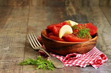 Homemade marinated tomatoes.