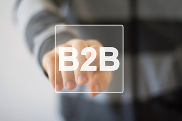 Businessman hand press web b2b icon button