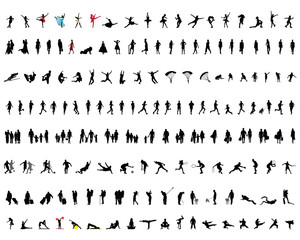 Big collection of silhouettes of people 2, vector