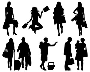 Silhouettes of people in shopping, vector
