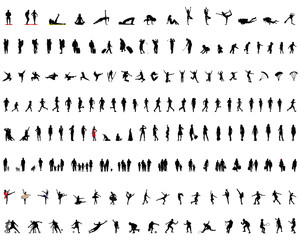 Big collection of silhouettes of people, vector