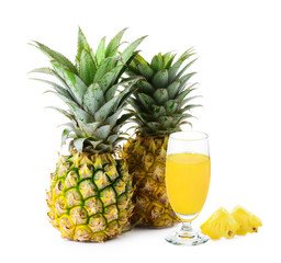 pineapple juice isolated on white
