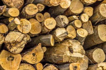 Stack of fresh cut wood marked with Valentines symbols