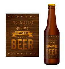 Vector design of beer label on a wooden surface