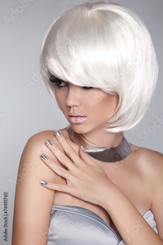 Aluminium Fashion Blond Girl. Beauty Portrait Woman. White Short Hair. Iso