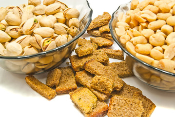 two dish with nuts and crackers