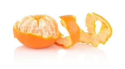 Spiral peel of mandarin isolated on white