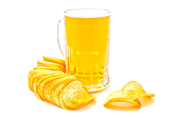 crispy chips and beer in glass