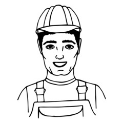 Hand-drawn builder. Doodle. Isolated. vector