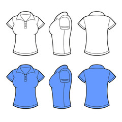 Women Polo Shirt Template. Front, back and side view. Vector