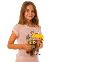 Girl with toys isolated ovwer white background