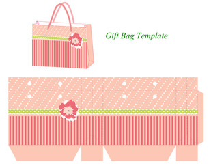 Pink gift bag template with stripes and flower