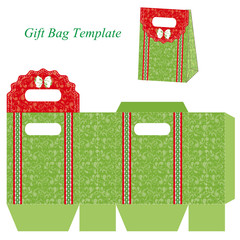 Green gift bag template with floral pattern and ribbon
