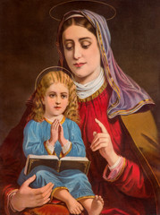 Typical catholic image of st. Ann with the little Mary