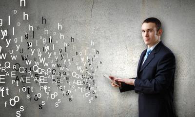 Man presenting tablet pc