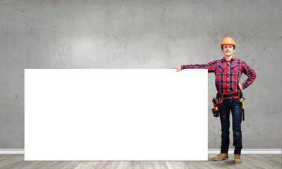 Man builder presenting something