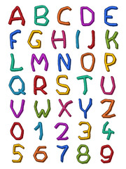 Colorful set of irregular letters and digits