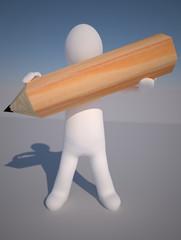 Omino, manichino, con matita