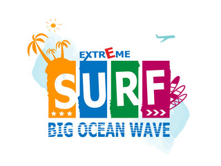Surf Rider text design element.