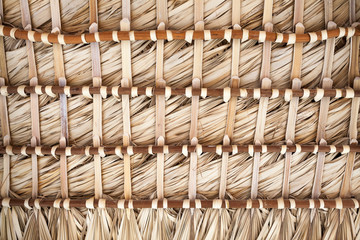 Roof made of palm leaves, back side background texture
