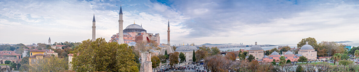 Panoramic aerial view of Hagia Sophia in Istanbul © jovannig