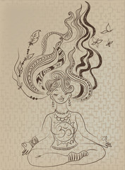 Meditating girl with tousled hair
