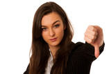 angry business woman showing thumb down isolated over white back