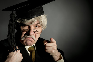 Unhappy Headmaster Pointing Finger