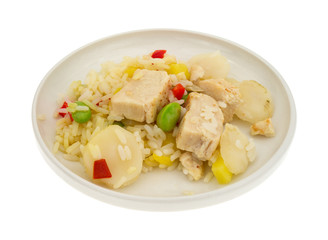Pineapple Chicken With Water Chestnuts On Plate Side View