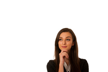 pensive business woman looking into copy space isolated over whi