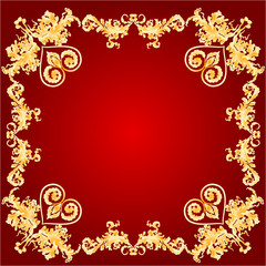 Valentines Hearts and ornaments red frame vector