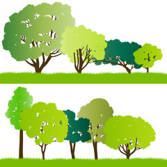 Forest trees silhouettes illustration collection background vect